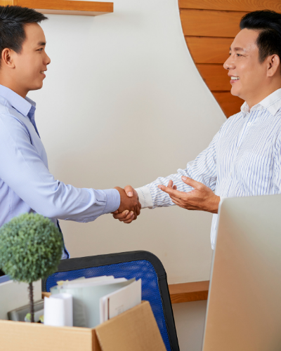 shaking hands of temporary and contract employees