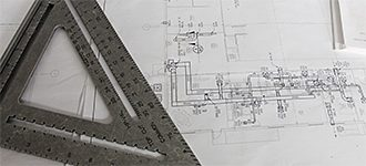 engineers ruler and blueprint