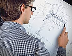 temp engineer drawing a sketch