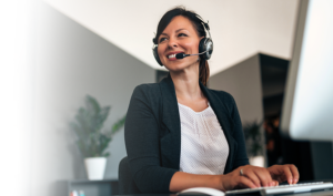 temp receptionist with a headset