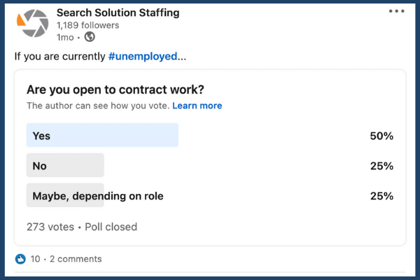 Unemployment poll on the interest of contract work